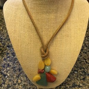 """Jewelry - Leather beaded necklace 30"""""""